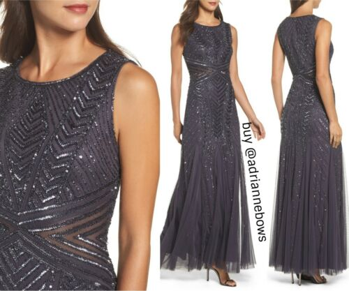 #G54 SZ 6 8 8P 16 NWT Adrianna Papell Beaded Sleeveless Gown in Gunmetal