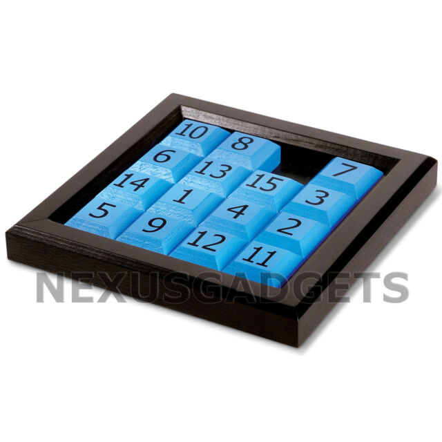15 Fifteen Number Slide Sliding Brain Teaser Puzzle Classic IQ Wood Numbers Game