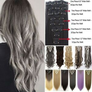 Mega Thick 18Clips Clip in Full Head Hair Extensions Extension As Human Hair 826