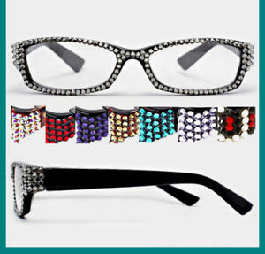 fa129dc97d Image is loading Crystal-Rhinestone-Rectangular-Reading-Glasses -Optical-Frame-Lens-