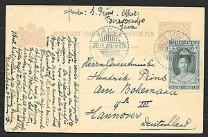 Netherlands Indies covers 1923 uprated PC LangeBalk KROJA to Hannover