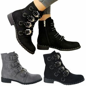ac8292d28379 LADIES SHOES WOMENS STRAPPY BUCKLE STUDS ZIP LOW HEEL CHELSEA ANKLE ...