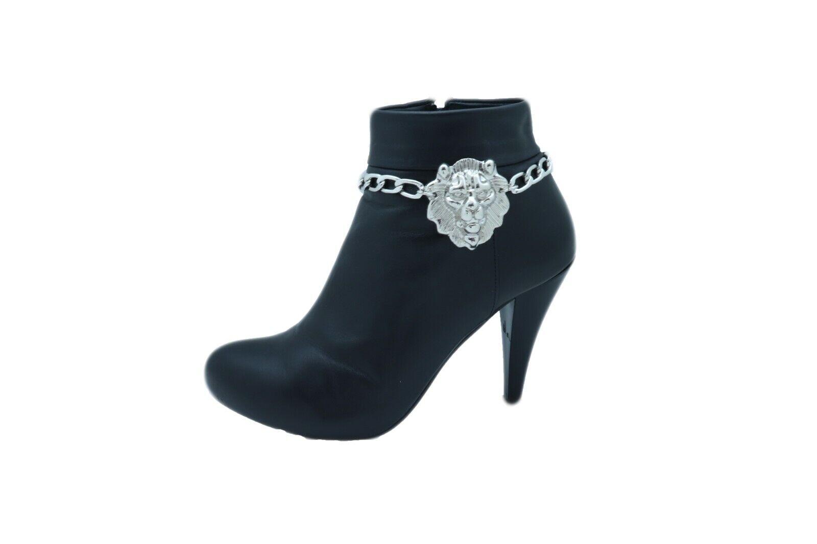 Fun Women Silver Metal Boot Chain Bracelet Anklet Shoe Lion Charm Safari Jewelry