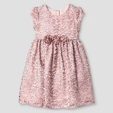 New Mia & Mimi Girls' Glitter Dot Lace Dress Blush Size- 5T