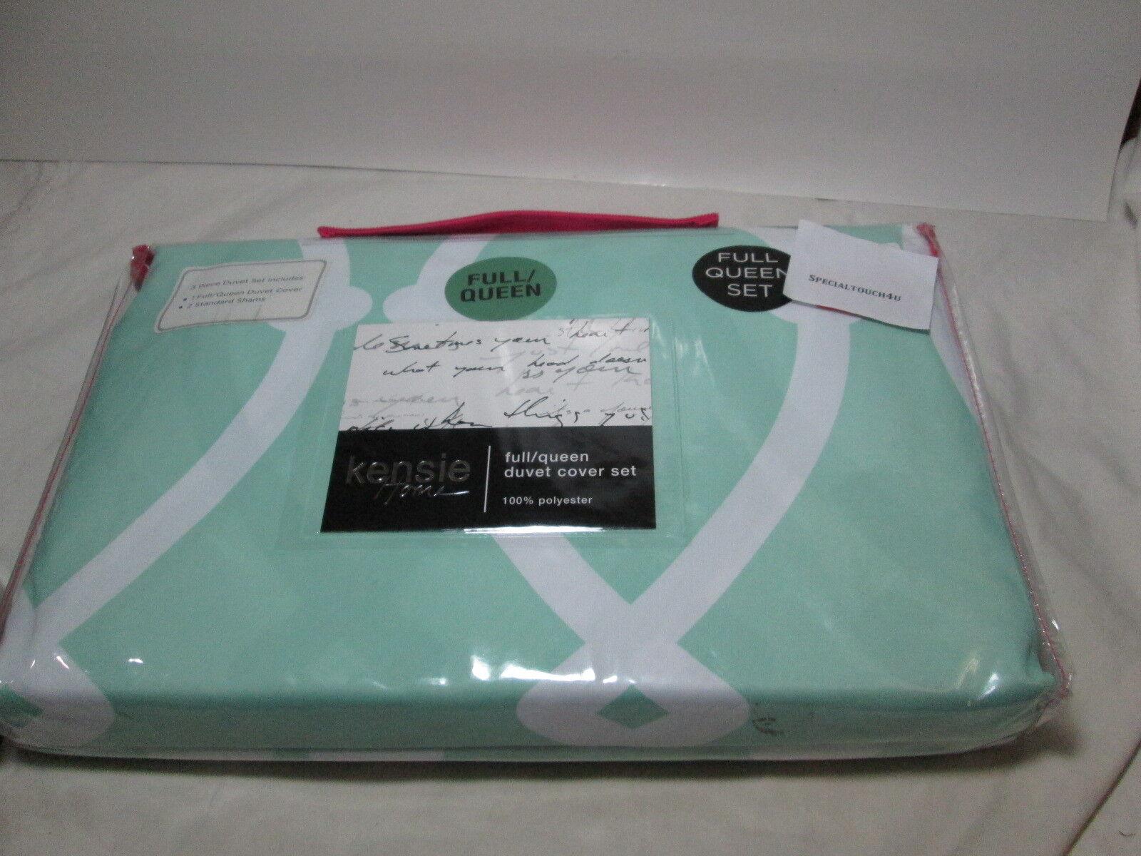 New Kensie Home Full Queen Duvet Cover Shams Set  Green and White NEW