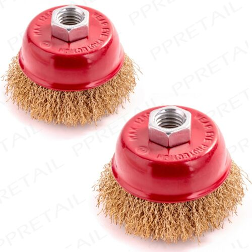 2 PACK 65mm CRIMPED ROTARY BRASS WIRE CUP BRUSH Angle Grinder M14 Thread Pair
