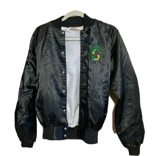Vintage 90s Satins bomber jacket Embroidered Drago