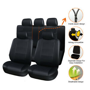 11Pcs Breathable PU Leather Car Seat Cover Full Seat Protector Set Front & Rear