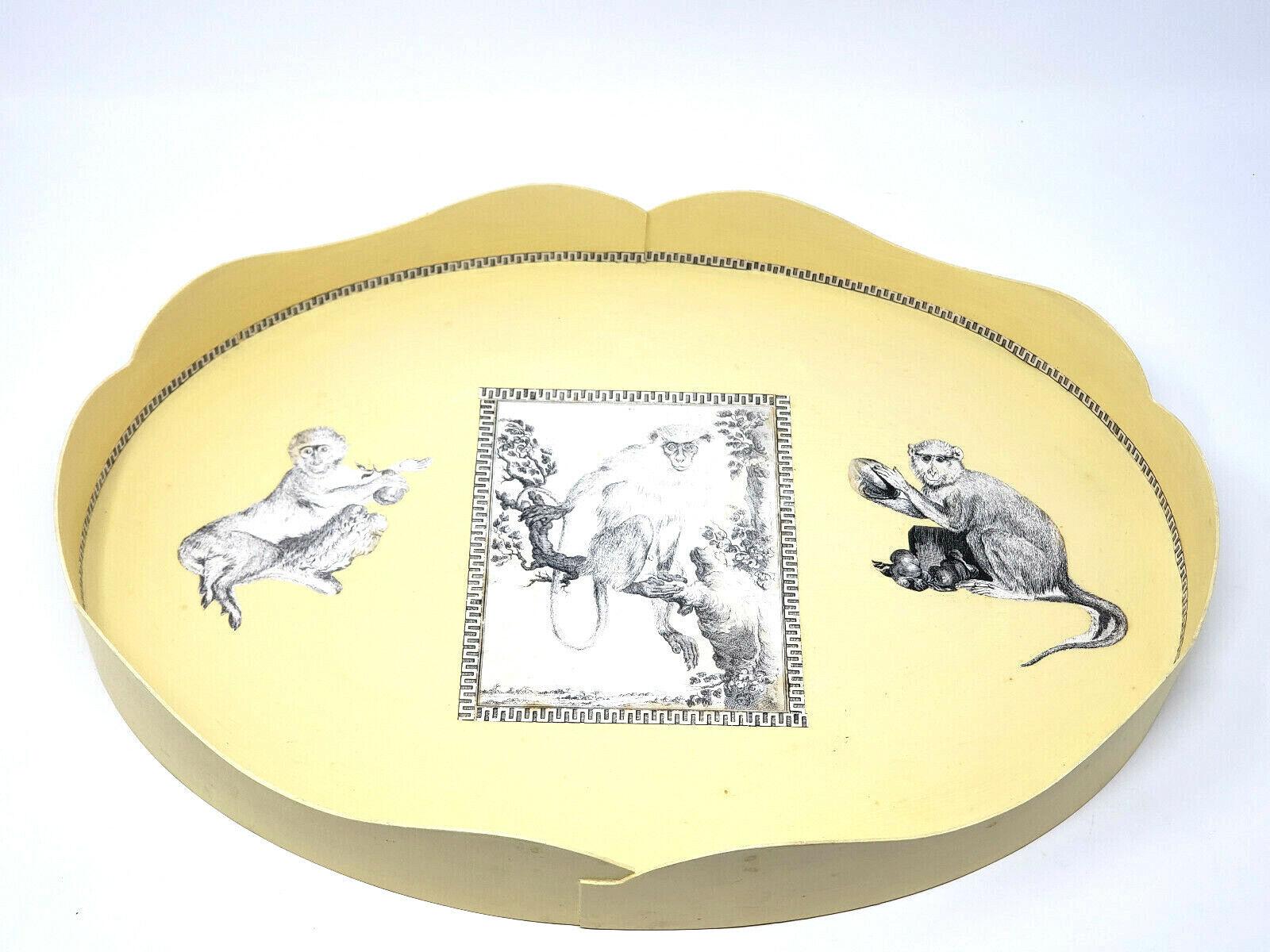 Handmade pour Pigott STORE décoratif Monkey Plateau Jaune 18  X 13  1996