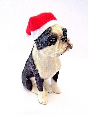 Boston Terrier Christmas Ornament Dog Wearing Santa Hat Loop To Hang New