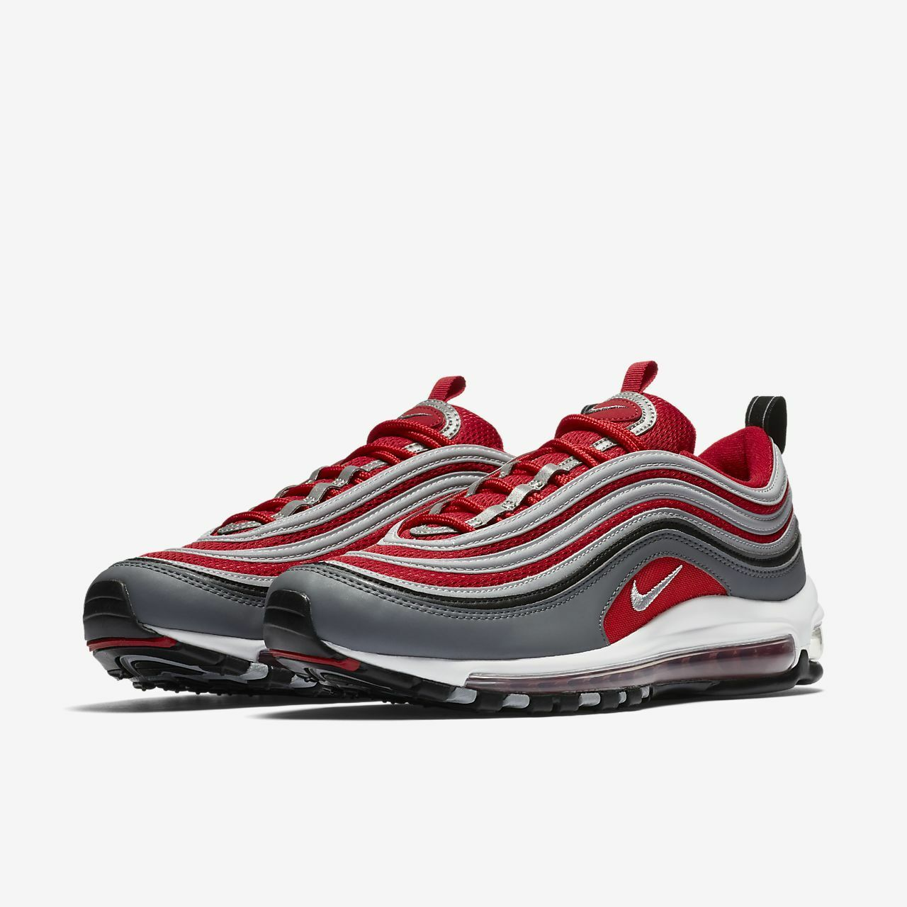 NIKE AIR MAX 97 TRAINERS WOLF GREY GYM RED 921826 007 ALL SIZES BNWB