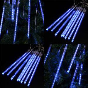 144LED-8-Rohr-Meteorschauer-Lichter-Lichterkette-Zuhause-Party-Dekor-Weihnachten