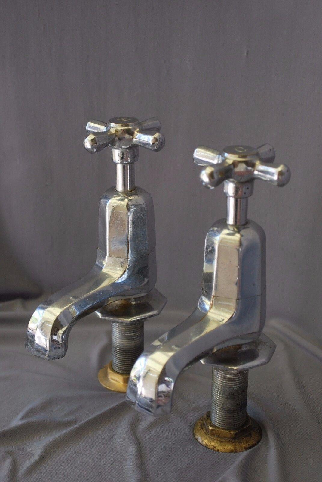 Ancien Chrome bain Robinets art deco antique salle de bains Reclaimed & entièrement remis à neuf