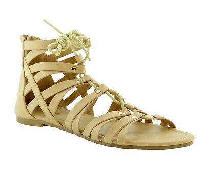 NEW Women Lace Up Back Zipper Strappy Cage Gladiator Ankle Sandals Flats Shoes