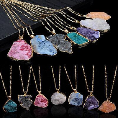Fashion Women Natural Crystal Quartz Healing Chakra Bead Stone Pendant Necklace