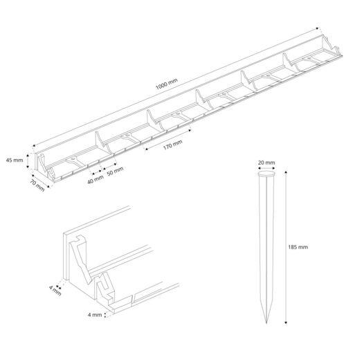 Beeteinfassung Rasenkante Beetumrandung PVC Erdanker Mähkante Rasenband HRK01