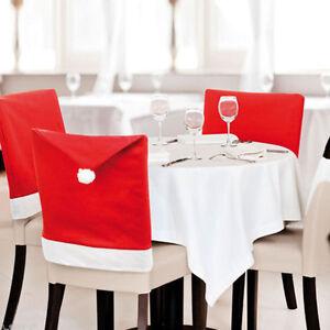 1PC Rouge Housse Noel Chaise P/ère No/ël Bonnet Couverture Pere Noel Table Deco