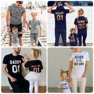 7ed737b47 Family Matching Outfits T-shirt Farther Mother Daughter Son Baby Kid ...