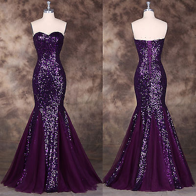 Sequins & Mermaid Long FORMAL Wedding GUEST Evening Prom Party Dresses Ball Gown