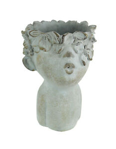 Pucker-Up-Kissing-Face-Weathered-Finish-Concrete-Head-Planter-10-Inches-High
