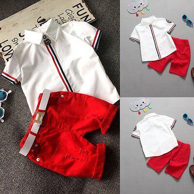 2pcs Toddler Kids Baby Boy Gentleman Outfit Clothes T-shirt Top+Shorts Pants Set