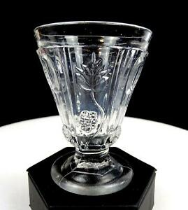 EAPG-PANELED-GRAPE-AND-ELLIPSE-CLEAR-NON-FLINT-4-034-FOOTED-TUMBLER-1840-1860