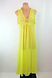 VTG-70s-Canary-Yellow-Sheer-Checkered-Lace-Long-Nightgown-M-L-Negligee-Bridal