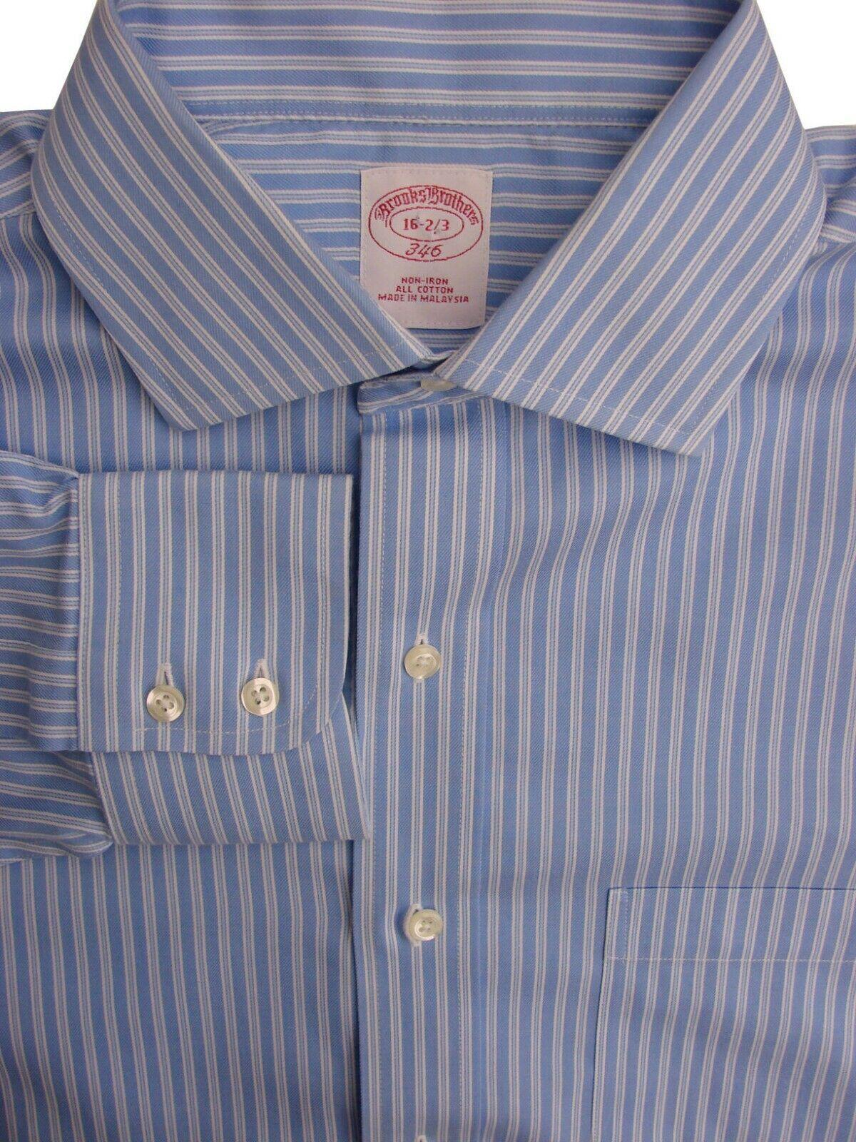 Brooks Brothers 346 Camicia Da Uomo 16 M STRISCE BLU-BIANCO SENZA FERRO