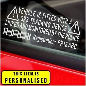 Details about 4 x CUSTOM PRINTED Vehicle GPS Security Stickers-Tracking  Warning Signs-Car,Van