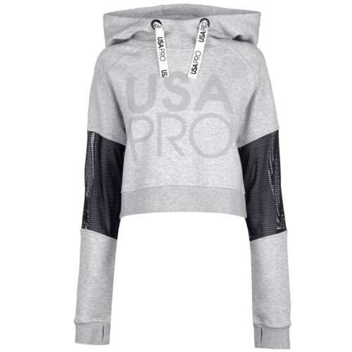 USA Pro Womens Crop Mesh Hoodie OTH Hoody Hooded Top Long Sleeve Lightweight