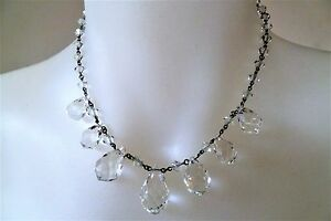 BEAUTIFUL-Art-Deco-ROCK-CRYSTAL-Vintage-WIRED-Choker-Necklace-37cm
