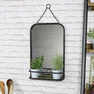 Metal negro estilo industrial espejo de pared estanter a for Espejo estilo industrial