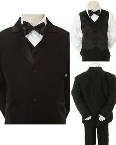 New Born Baby Toddler Boy Black FORMAL Wedding Party Church SUIT TUXEDO sz S-4T