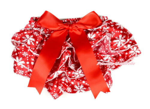 XMAS Christmas Red White Snowflake Print Baby Bloomer Panties with Big Bow 6M-3Y