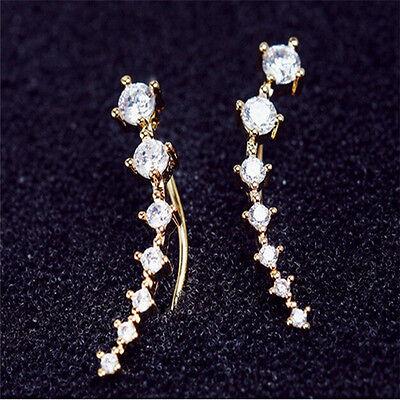 Fashion Womens Gold Silver Crystal Rhinestone Stud Earrings Ear Hook Jewelry L7
