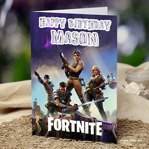 Image Is Loading FORTNITE Personalised Birthday Card FREE Shipping Son Grandson