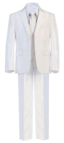 Boy Toddler Teen 5pc Wedding Formal Shiny Off White Suit Tuxedo w// Vest sz 2-20