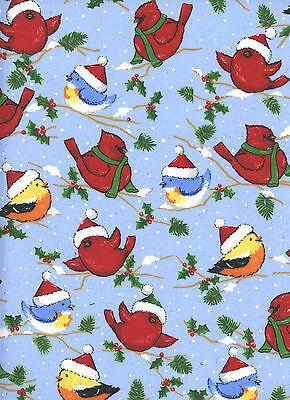 Christmas Cardinals Bluebirds Chickadees 1 Fat Quarter 100% cotton fabric