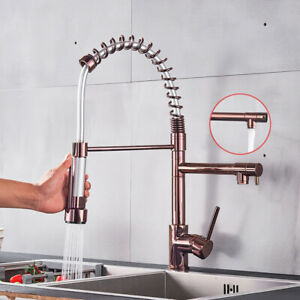 Rose-Gold-White-Kitchen-Spring-Faucet-Pull-Down-Single-Handle-Kitchen-Mixer-Tap