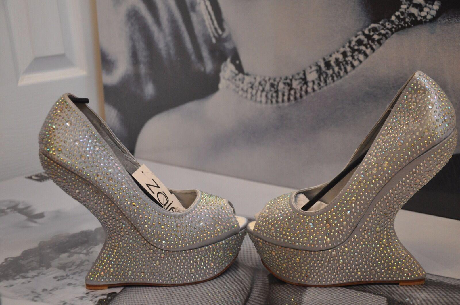 Donna Zaif da SHALIMAR Scarpe in satin con argento-toe plateau & SWAROVSKI 6
