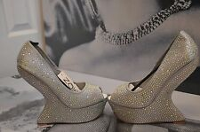 WOMEN  ZAIF BY SHALIMAR SHOES SILVER SATIN PEEP-TOE SHOES PLATFORM & SWAROVSKI 6