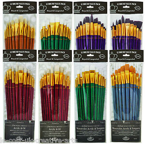 royal artist 12pc taklon long handle paint brush sets acrylic