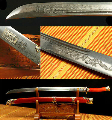 38'  DAMASCUS FOLDED  STEEL DRAGON BLADE  ROSEWOOD PHOENIX CHINESE QING SWORD