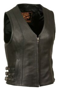 WOMENS MOTORCYCLE GRAY LEATHER VEST w// SIDE LACES /& DUAL CONCEAL POCKETS MA25