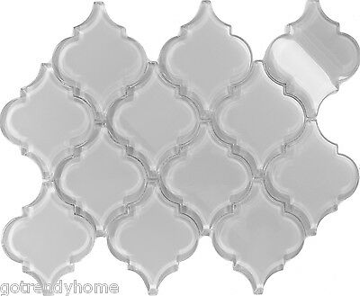 Sample White Arabesque Moroccan Pattern Gl Mosaic Tile Kitchen Backsplash Spa