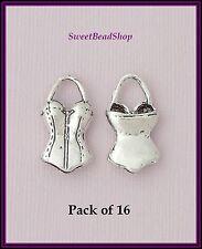 16 Antique Silver Colour 25 x 13mm Feminine Burlesque Corset Bustier 3D Charms