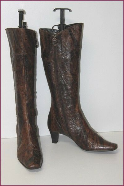 GARDENIA Boots All Brown Leather Marbled T 37.5 BE