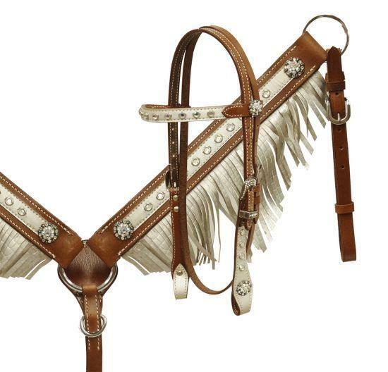 Showman Pony Size Metallic Alligator Print Fringe Headstall & Breast Collar Set