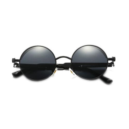Retro Polarized Steampunk Sunglasses Men Round UV400 Mirrored Sunglasses