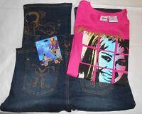 Disney Store Hannah Montana Secret Star Denim Jeans 14 + Graphic T-shirt Xl/16 +